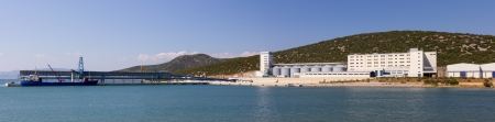 Panorama of a large mill plant with port Stock Photo - 15497940