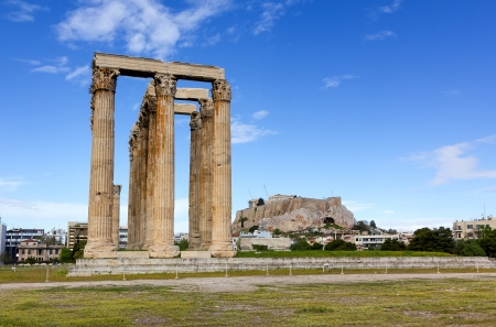 Temple of Olympian Zeus, Acropolis in background, Athens, Greece photo