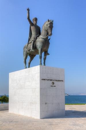 constantine: Statue of the last Byzantine emperor Constantine XI Palaiologos  1404-1453 A D  , Faliro, Greece Stock Photo