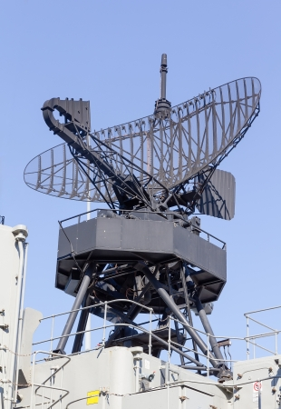 destroyer: Radar on a warship Stock Photo