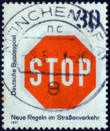 bundes: GERMANY - CIRCA 1971: A stamp printed in Germany from the New Road Traffic Regulations (1st series) issue shows STOP sign, circa 1971.