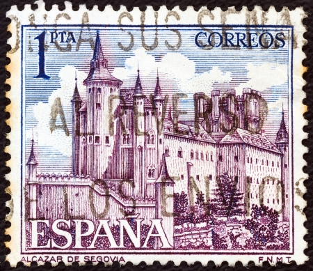 SPAIN - CIRCA 1964: A stamp printed in Spain shows Alcazar de Segovia, circa 1964.  Editorial