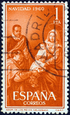velazquez: SPAIN - CIRCA 1960: A stamp printed in Spain from the Christmas issue shows the Nativity (after Diego Velazquez), circa 1960.
