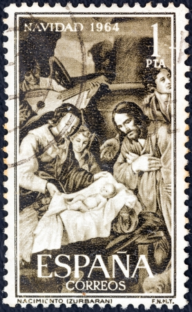 SPAIN - CIRCA 1964: A stamp printed in Spain from the Christmas issue shows Adoration of the Shepherds (after Francisco de Zurbaran), circa 1964.