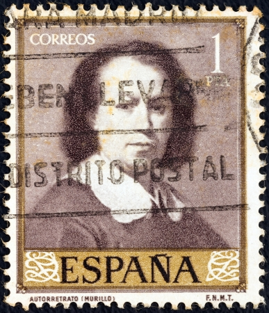 murillo: SPAIN - CIRCA 1960: A stamp printed in Spain from the Stamp Day and Murillo Commemoration issue shows self-portrait of Bartolome Esteban Murillo, circa 1960.