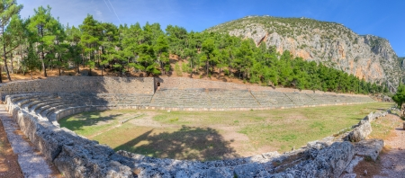 Panorama of the ancient stadium of Delphi, Greece photo