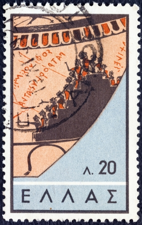 thessaly: GREECE - CIRCA 1959: A stamp printed in Greece from the Ancient Greek theater issue shows ancient theater audience (after a Pharsala, Thessaly vase of 580 B.C.), circa 1959.