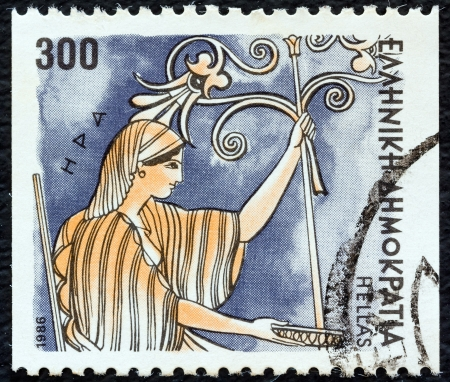 GREECE - CIRCA 1986: A stamp printed in Greece from the Gods of Olympus issue shows goddess Hera, circa 1986.