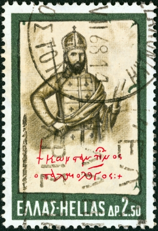GREECE - CIRCA 1968: A stamp printed in Greece from the Hellenic Fight for Civilization Exhibition, Athens issue shows Emperor Constantine Palaiologos (lithograph by D. Tsokos), circa 1968.