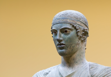 delfi: Charioteer of Delphi statue, close up head detail