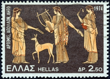 GREECE - CIRCA 1974: A stamp printed in Greece from the Greek Mythology (3rd series) issue shows Artemis, Apollo and Leto (vase), circa 1974.