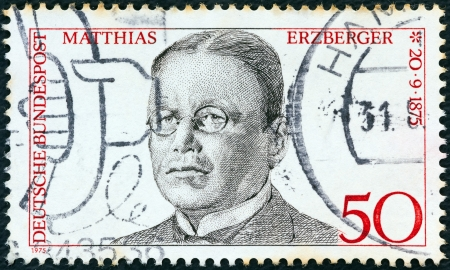 bundes: GERMANY - CIRCA 1975: A stamp printed in Germany from the Birth Centenaries issue shows statesman Matthias Erzberger, circa 1975.