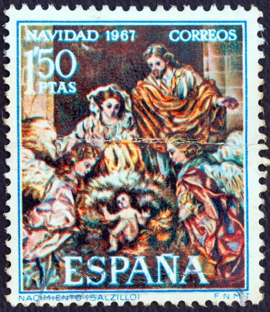 SPAIN - CIRCA 1967: A stamp printed in Spain from the Christmas issue shows the Nativity (after Francisco Salzillo), circa 1967.