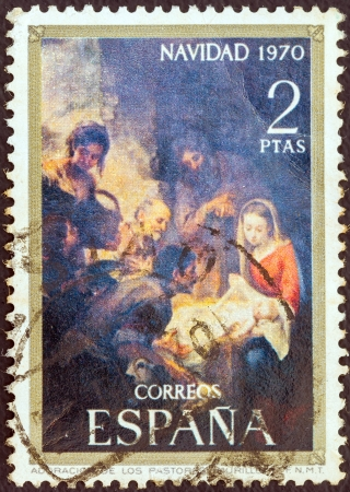 SPAIN - CIRCA 1970: A stamp printed in Spain from the Christmas issue shows The Adoration of the Shepherds (after Bartolome Esteban Murillo), circa 1970.