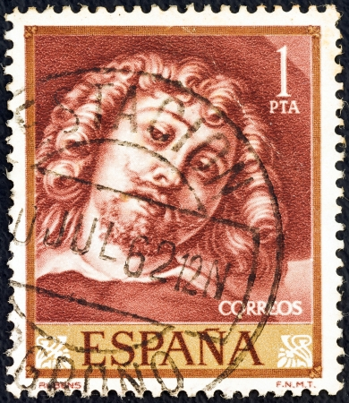 SPAIN - CIRCA 1962: A stamp printed in Spain from the Rubens Paintings issue shows a self portrait, circa 1962.