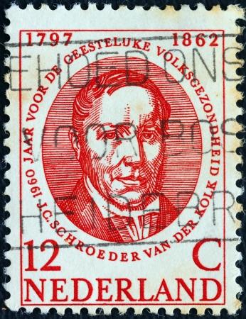 NETHERLANDS - CIRCA 1960: A stamp printed in the Netherlands issued for the World Mental Health Year shows Dutch anatomist and physiologist Schroeder van der Kolk (1797-1862), circa 1960.