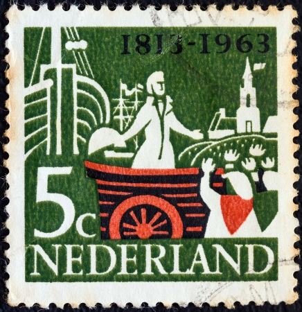 orange nassau: NETHERLANDS - CIRCA 1963: A stamp printed in the Netherlands from the 150th anniversary of Kingdom of the Netherlands issue shows William, Prince of Orange, landing at Scheveningen, circa 1963.  Editorial