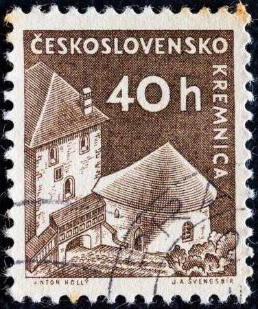 czechoslovak: CZECHOSLOVAKIA - CIRCA 1960: A stamp printed in Czechoslovakia from the Czechoslovak Castles issue shows Kremnica castle, circa 1960.