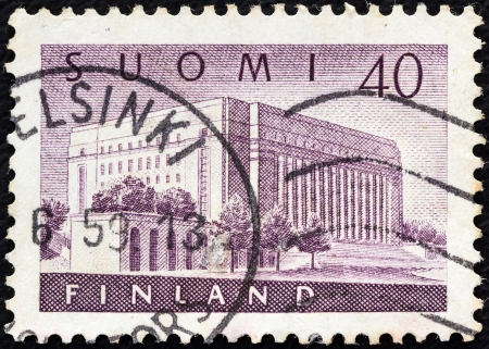 FINLAND - CIRCA 1956: A stamp printed in Finland shows House of Parliament, circa 1956.  Stock Photo - 15944497