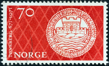 NORWAY - CIRCA 1971: A stamp printed in Norway issued for the 1100th anniversary of Tonsberg shows Tonsbergs Seal, circa 1971.