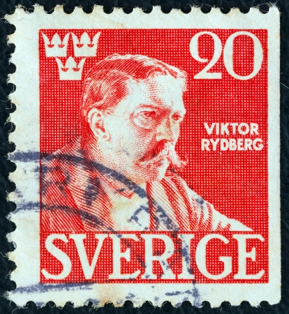SWEDEN - CIRCA 1945: A stamp printed in Sweden issued for the 50th death anniversary of Viktor Rydberg shows author Viktor Rydberg (after A. Edelfelt), circa 1945.  Stock Photo - 15944488