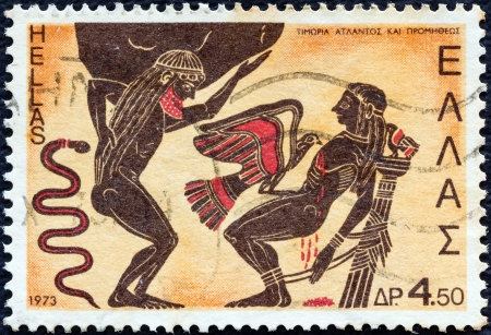 greek pottery: GREECE - CIRCA 1973: A stamp printed in Greece from the Greek Mythology (2nd series) issue shows Atlas and Prometheus punished by Zeus (kalyx crater), circa 1973.