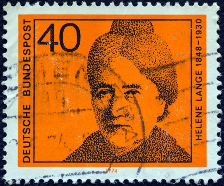 bundes: GERMANY - CIRCA 1974: A stamp printed in Germany from the Women in German Politics issue shows Helene Lange, circa 1974.