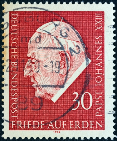 bundes: GERMANY - CIRCA 1969: A stamp printed in Germany from the Pope John XXIII Commemoration issue shows Pope John XXIII, circa 1969.
