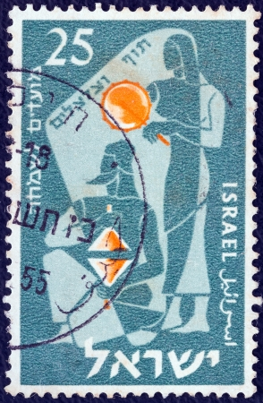 cymbals: ISRAEL - CIRCA 1955: A stamp printed in Israel from the Jewish New Year issue shows Musicians playing Timbrel and Cymbals, circa 1955.