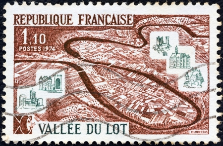 FRANCE - CIRCA 1974: A stamp printed in France from the Tourist Publicity issue shows Lot Valley, circa 1974.