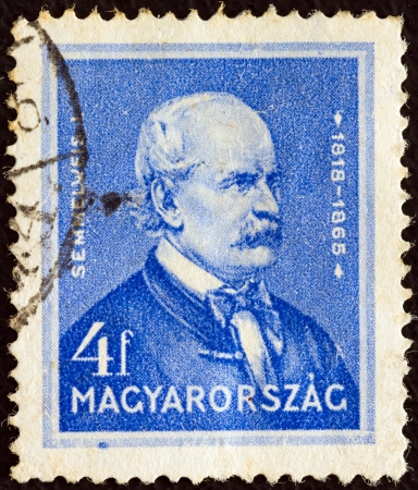 magyar: HUNGARY - CIRCA 1932: A stamp printed in Hungary from the Famous Hungarians issue shows physician Ignaz Philipp Semmelweis, circa 1932.
