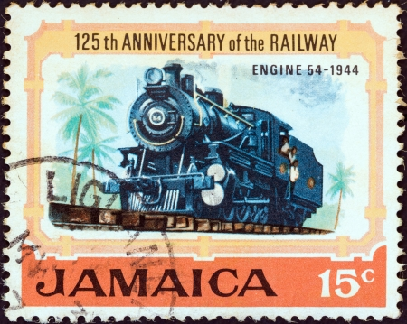 JAMAICA - CIRCA 1970: A stamp printed in Jamaica from the '125th anniversary of Jamaican Railways' issue shows Steam locomotive No. 54 (1944), circa 1970.
