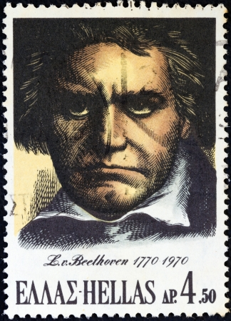 GREECE - CIRCA 1970: A stamp printed in Greece issued for his birth bicentenary shows Ludwig van Beethoven, circa 1970.