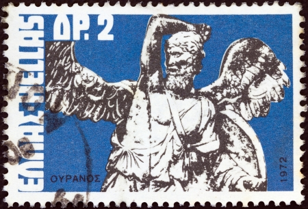 titans: GREECE - CIRCA 1972: A stamp printed in Greece from the Greek Mythology. Museum Pieces (1st series) issue shows Uranus (altar piece), circa 1972.  Editorial