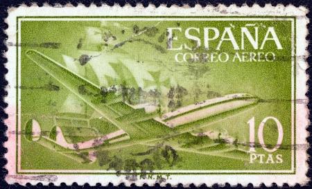 caravelle: ESPAGNE - CIRCA 1955: Un timbre imprim� en Espagne montre Air Lockheed L-1049 Super Constellation avions et Caravel, circa 1955.