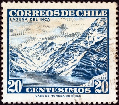 portillo: CHILE - CIRCA 1960: A stamp printed in Chile shows Inca lake, circa 1960.