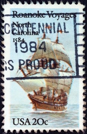 USA - CIRCA 1984: A stamp printed in USA from the Explorers. 400th anniversary of first Raleigh Expedition to Roanoke Island, North Carolina issue shows Galleon Elizabeth, circa 1984.