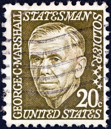 prominent: USA - CIRCA 1965: A stamp printed in USA from the Prominent Americans (1st series) issue shows George C. Marshall, circa 1965.