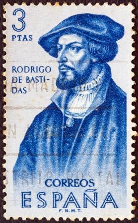 SPAIN - CIRCA 1961: A stamp printed in Spain from the Explorers and Colonizers of America (1st series) issue shows conquistador and explorer Rodrigo de Bastidas, circa 1961.