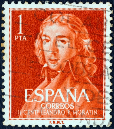 timbre: SPAIN - CIRCA 1961: A stamp printed in Spain from the Birth bicentenary of poet and dramatist Moratin issue shows Leandro Fernandez de Moratin, circa 1961.