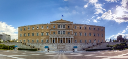 Panoramic view of the Greek Parliament building, Athens Фото со стока