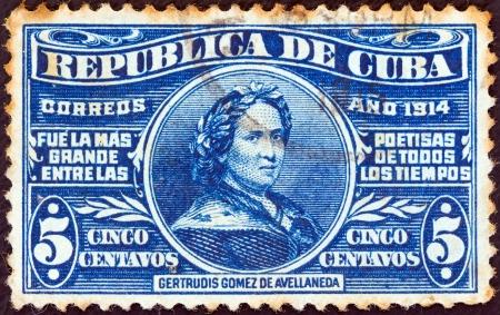 CUBA - CIRCA 1914: A stamp printed in Cuba issued for her birth centenary shows poetess Gertrudis Gomez de Avellaneda (1814-1873), circa 1914.  Stock Photo - 16337703