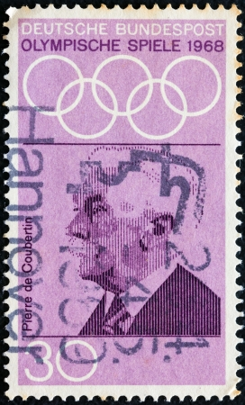 bundes: GERMANY - CIRCA 1968: A stamp printed in Germany from the Olympic Games (1972) Promotion Fund (1st series) issue shows Pierre de Coubertin (founder of Olympics), circa 1968.
