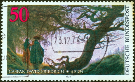 caspar: GERMANY - CIRCA 1974: A stamp printed in Germany issued for the birth bicentenary of artist Caspar David Friedrich shows Man and Woman looking at the Moon, circa 1974.