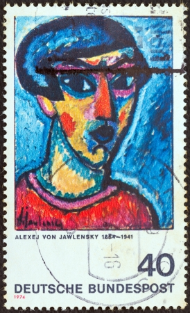 bundes: GERMANY - CIRCA 1974: A stamp printed in Germany from the German Expressionist Paintings issue shows Portrait in Blue (Alexej von Jawlensky), circa 1974.