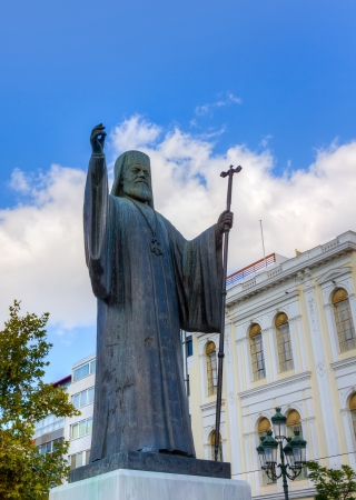 Statue of Archbishop of Greece Damaskinos  1891-1949 , Athens Stock Photo - 16426441