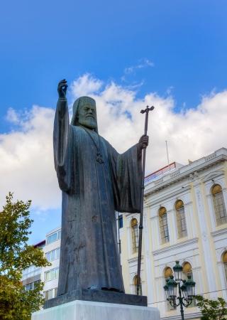 Statue of Archbishop of Greece Damaskinos  1891-1949 , Athens Stock Photo - 16426441
