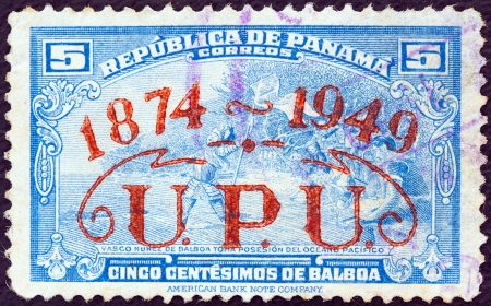 upu: PANAMA - CIRCA 1949: A stamp printed in Panama issued for the 75th anniversary of the UPU shows Vasco Nunez de Balboa taking possession of the Pacific Ocean,circa 1949.