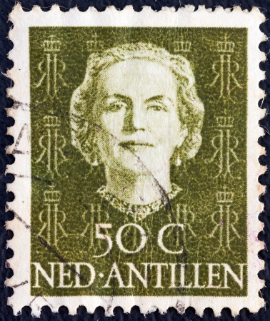 NETHERLANDS ANTILLES - CIRCA 1950: A stamp printed in the Netherlands shows Queen Juliana, circa 1950.  Stock Photo - 16377505