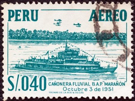 PERU - CIRCA 1952: A stamp printed in Peru shows gunboat Maranon, circa 1952.  Stock Photo - 16377504